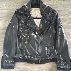 Spiked Leather  motorcycle jacket All Saints like